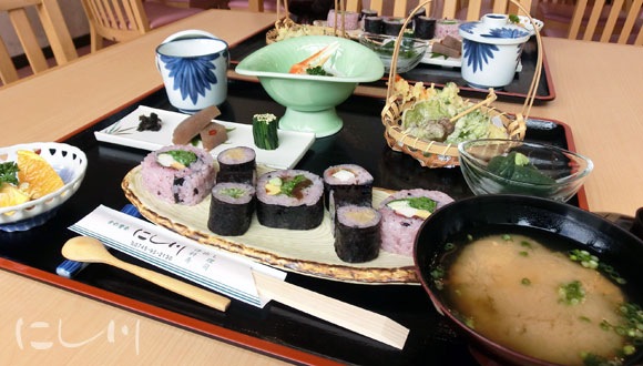 野菜寿司の定食